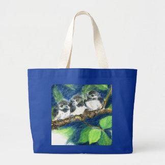 Three Chick-a-Dees - Watercolor Pencil Tote Bag