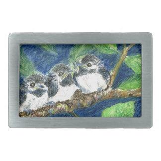 Three Chick-a-Dees - Watercolor Pencil Rectangular Belt Buckles