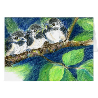 Three Chick-a-Dees - Watercolor Pencil Card