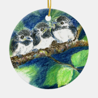 Three Chick-a-Dees - Watercolor Pencil Ceramic Ornament