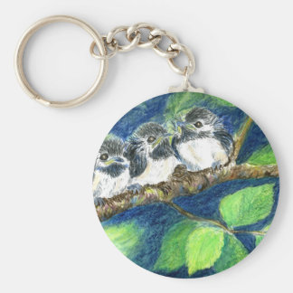 Three Chick-a-Dees - Watercolor Pencil Key Chain