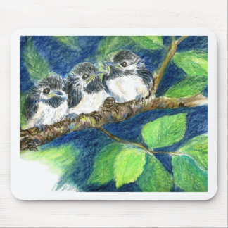 Three Chick-a-Dees - Watercolor Pencil Mouse Pad