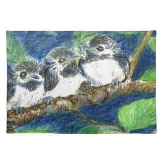 Three Chick-a-Dees - Watercolor Pencil Place Mat