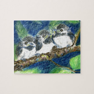 Three Chick-a-Dees - Watercolor Pencil Puzzle