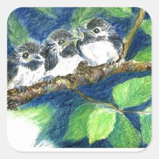 Three Chick-a-Dees - Watercolor Pencil Square Sticker