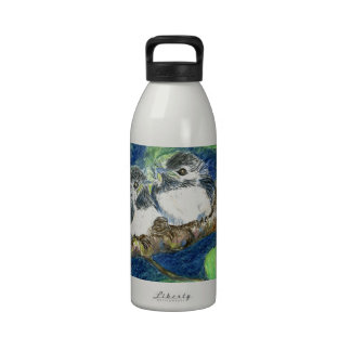Three Chick-a-Dees - Watercolor Pencil Water Bottles