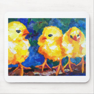 Three Chicks Deep in Conversation Mouse Pad