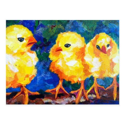 Three Chicks Deep in Conversation Postcards