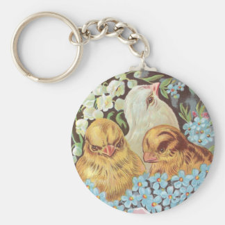 Three Chicks in Pink Easter Egg with Flowers Keychain