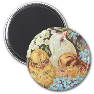 Three Chicks in Pink Easter Egg with Flowers Magnet