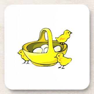 three chicks yellow basket white eggs.png coaster