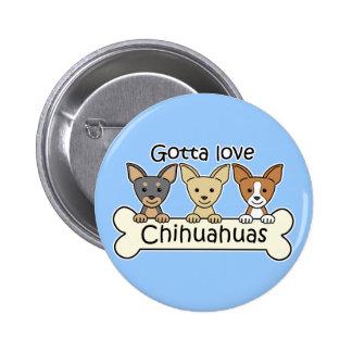 Three Chihuahuas Button