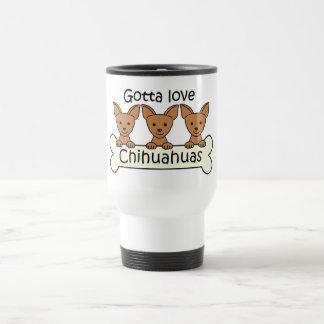 Three Chihuahuas 15 Oz Stainless Steel Travel Mug