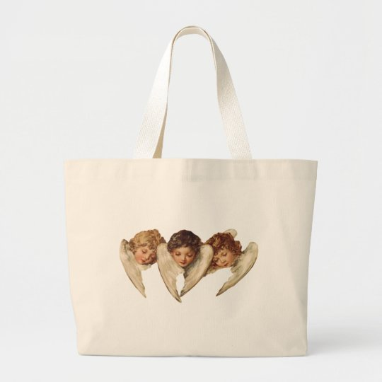 Three Child Angels - Vintage Kitsch Art Large Tote Bag