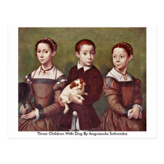 Three Children With Dog By Anguissola Sofonisba Post Card