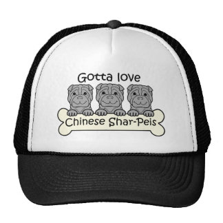 Three Chinese Shar-Peis Mesh Hats