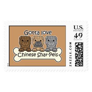 Three Chinese Shar-Peis Postage