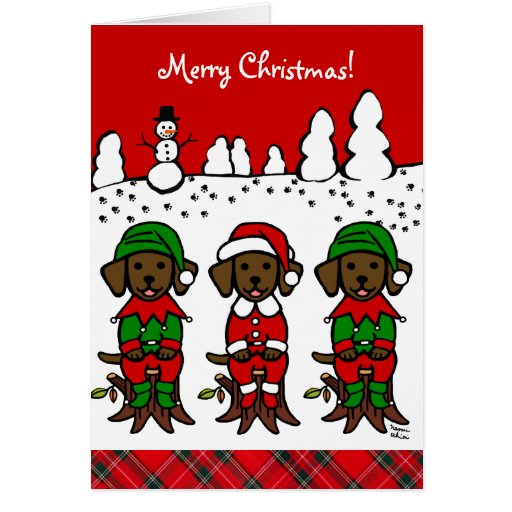 Three Chocolate Lab Puppies Christmas Cards