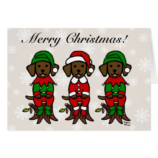 Three Chocolate Lab Puppies Christmas Cards Snow