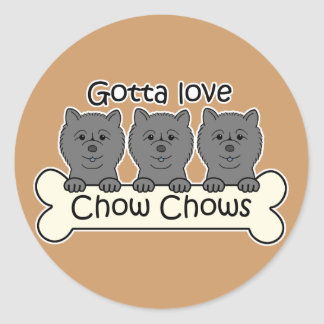 Three Chow Chows Classic Round Sticker