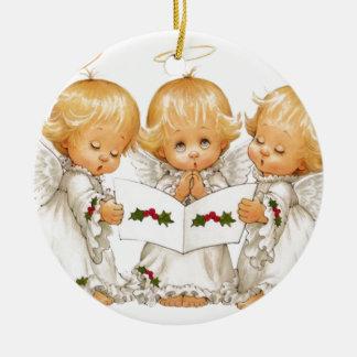 Three Christmas Angels Ceramic Ornament