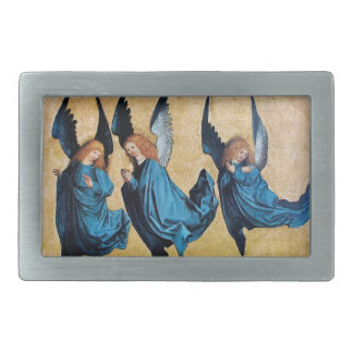 THREE CHRISTMAS ANGELS IN BLUE BELT BUCKLE