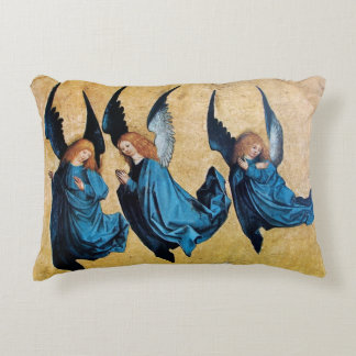 THREE CHRISTMAS ANGELS IN BLUE DECORATIVE PILLOW