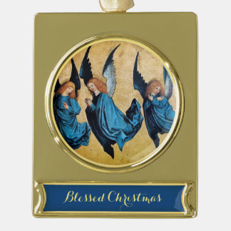 THREE CHRISTMAS ANGELS IN BLUE GOLD PLATED BANNER ORNAMENT