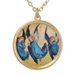 THREE CHRISTMAS ANGELS IN BLUE GOLD PLATED NECKLACE
