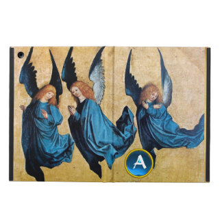 THREE CHRISTMAS ANGELS IN BLUE MONOGRAM Parchment iPad Air Cases