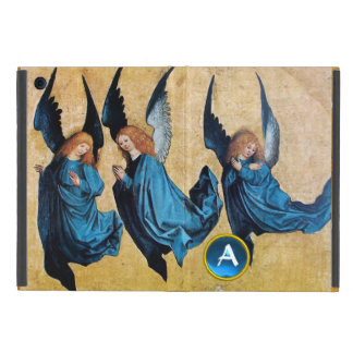 THREE CHRISTMAS ANGELS IN BLUE MONOGRAM Parchment iPad Mini Case