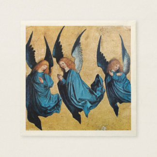 THREE CHRISTMAS ANGELS IN BLUE NAPKIN
