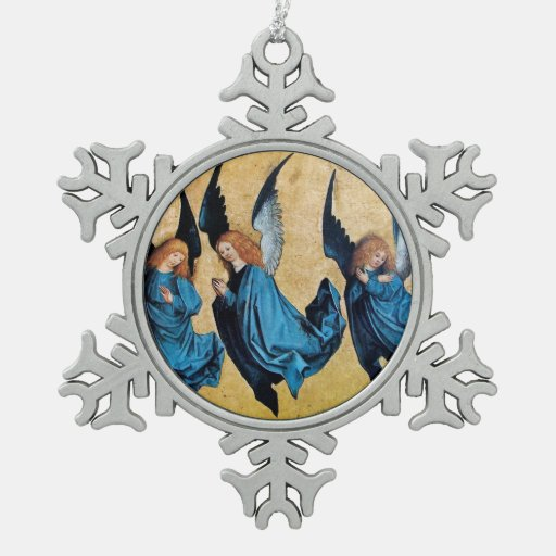THREE CHRISTMAS ANGELS IN BLUE ORNAMENTS