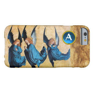 THREE CHRISTMAS ANGELS IN BLUE PARCHMENT MONOGRAM BARELY THERE iPhone 6 CASE