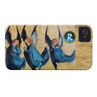 THREE CHRISTMAS ANGELS IN BLUE PARCHMENT MONOGRAM iPhone 4 CASE