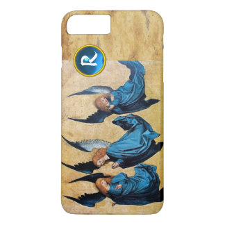 THREE CHRISTMAS ANGELS IN BLUE PARCHMENT MONOGRAM iPhone 7 PLUS CASE