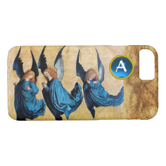 THREE CHRISTMAS ANGELS IN BLUE PARCHMENT MONOGRAM iPhone 8/7 CASE