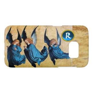 THREE CHRISTMAS ANGELS IN BLUE PARCHMENT MONOGRAM SAMSUNG GALAXY S7 CASE
