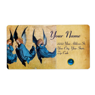 THREE CHRISTMAS ANGELS IN BLUE PARCHMENT, Sapphire Label