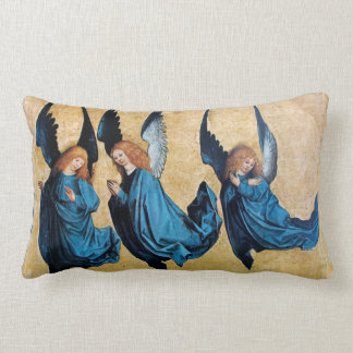 THREE CHRISTMAS ANGELS IN BLUE PILLOW