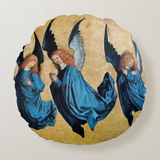 THREE CHRISTMAS ANGELS IN BLUE ROUND PILLOW