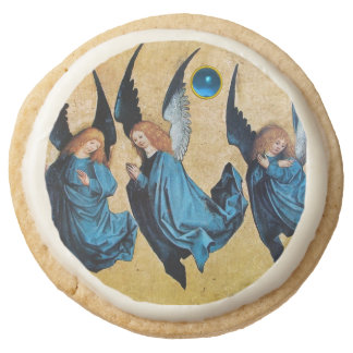 THREE CHRISTMAS ANGELS IN BLUE ROUND SHORTBREAD COOKIE