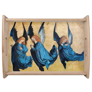 THREE CHRISTMAS ANGELS IN BLUE SERVING TRAY