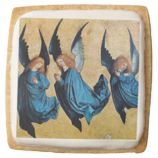 THREE CHRISTMAS ANGELS IN BLUE SQUARE SHORTBREAD COOKIE