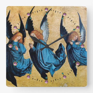 THREE CHRISTMAS ANGELS IN BLUE SQUARE WALL CLOCK