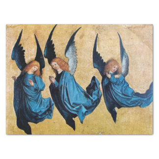 THREE CHRISTMAS ANGELS IN BLUE TISSUE PAPER