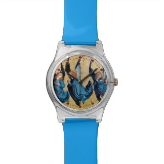 THREE CHRISTMAS ANGELS IN BLUE WRISTWATCH