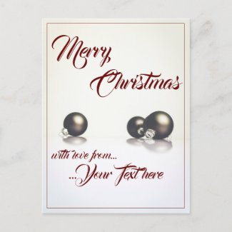 Three christmas balls in front of light background holiday postcard
