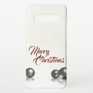 Three christmas balls in front of light background samsung galaxy s10+ case