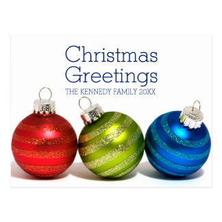 Three Christmas balls Postcard